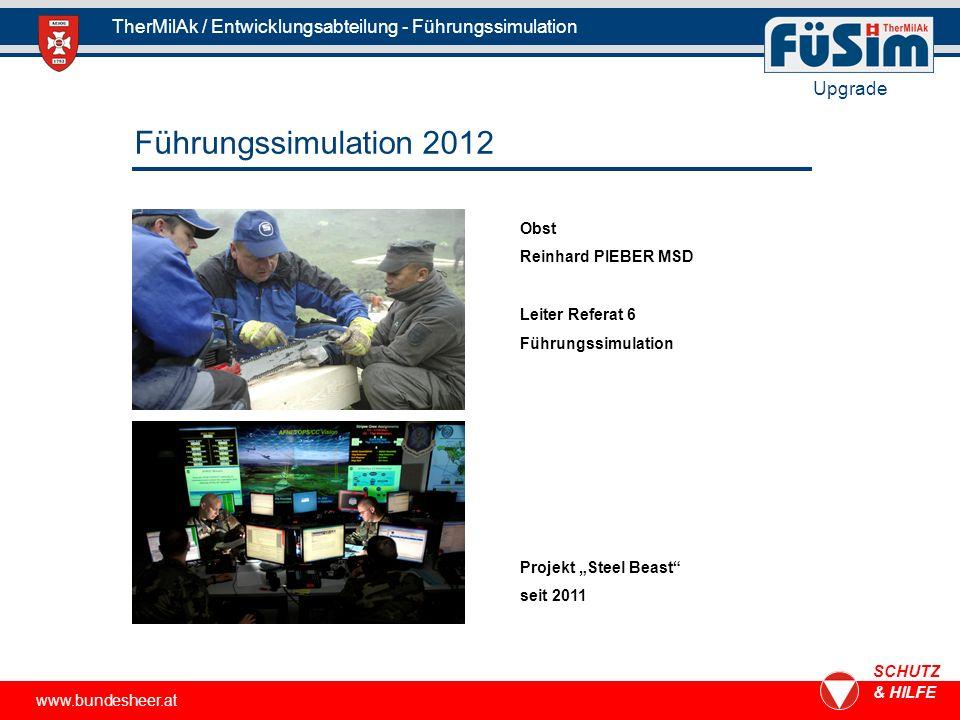 Führungssimulation 2012 www.bundesheer.at SCHUTZ & HILFE TherMilAk / Entwicklungsabteilung - Führungssimulation Obst Reinhard PIEBER MSD Leiter Refera