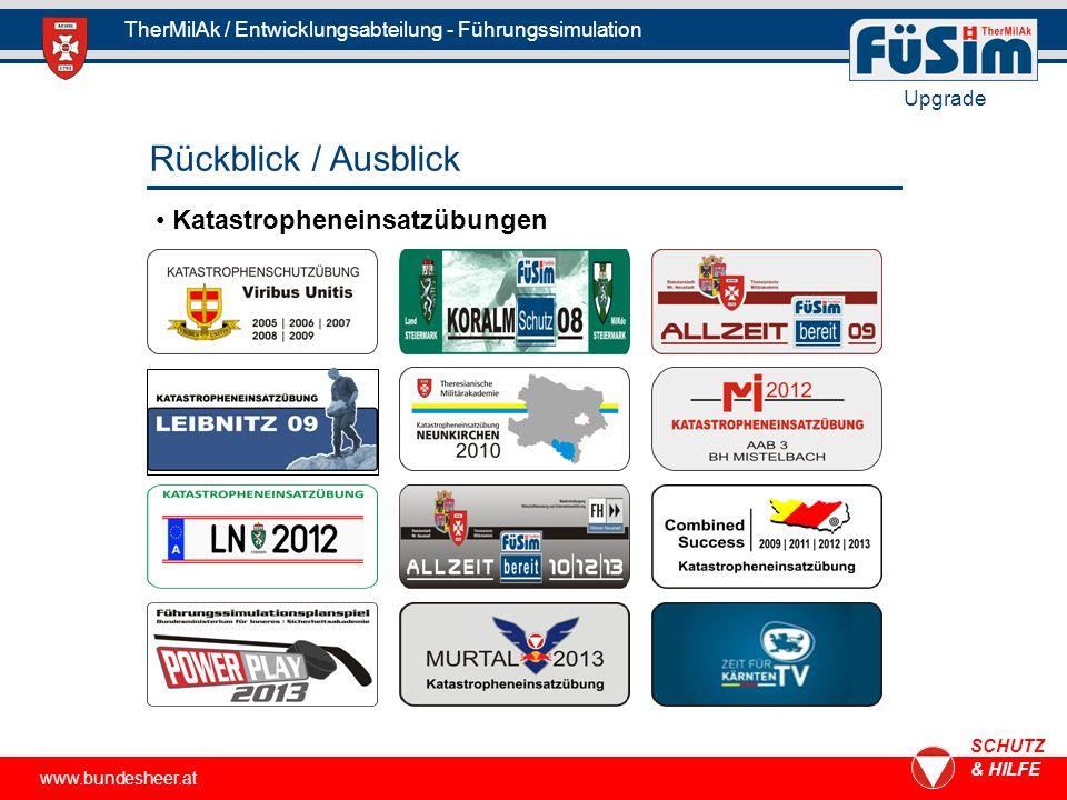 www.bundesheer.at SCHUTZ & HILFE TherMilAk / Entwicklungsabteilung - Führungssimulation Upgrade Katastropheneinsatzübungen Rückblick / Ausblick