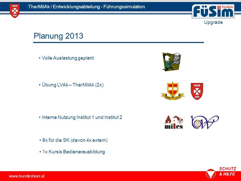 www.bundesheer.at SCHUTZ & HILFE TherMilAk / Entwicklungsabteilung - Führungssimulation Upgrade Planung 2013 Volle Auslastung geplant Übung LVAk – The