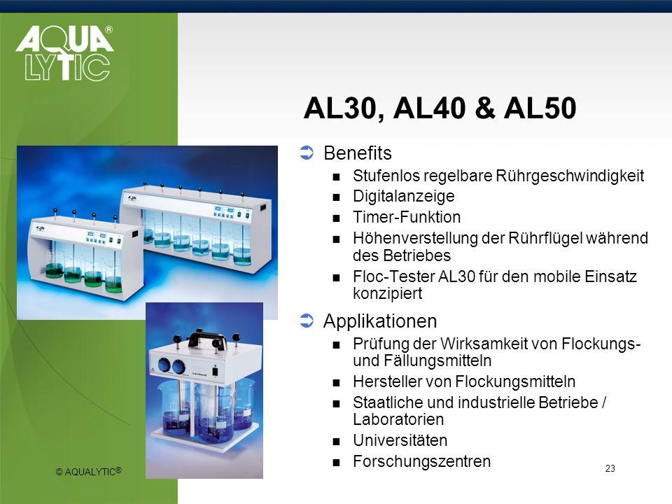 © AQUALYTIC ® 23 AL30, AL40 & AL50 Benefits Stufenlos regelbare Rührgeschwindigkeit Digitalanzeige Timer-Funktion Höhenverstellung der Rührflügel währ