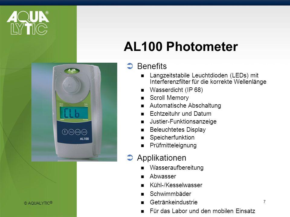 © AQUALYTIC ® 18 SD 300 pH, SD 320 Con Vorteile Robust & wasserdicht (IP 76) für die Vor-Ort-Analyse PC-Schnittstelle zur Datenübertragung (USB / seriell oder analog) Automatische Puffererkennung (SD 300 pH) Datenlogger- und Alarm-Funktion Gute Labor Praxis (GLP-Funktionen) Große Doppelanzeige, Hintergrundbeleuchtung Automatische Temperaturkompensation Hohe Auflösung (0,001 pH / 0,1 mV) Verschmutzungsunempfindliche, innovative 4-Pol- Technologie für ein Höchstmaß an Präzision (SD 320 Con) Applikationen Trinkwasser Kühl/Kesselwasser Abwasser Schwimmbadwasser Oberflächenwasser