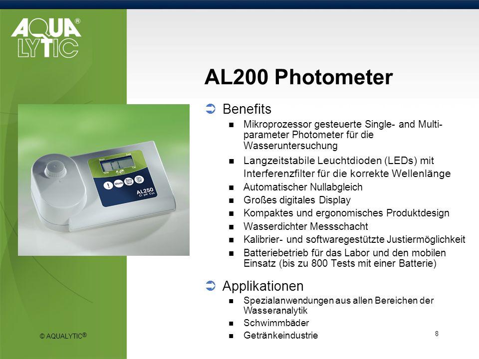 © AQUALYTIC ® 9 DPD Methode (Vario) Chlorbestimmung gemäß ISO 7393-2:2000 (frei + gesamt) Messbereich 0 - 2 mg/l 0.1 - 8 mg/l Probevolumen 10 ml 250 tests 5 Jahre Haltbarkeit auf das Reagenz (bei versiegelter Ampulle) PD 250