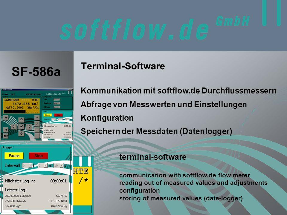 Terminal-Software terminal-software SF-586a Abfrage von Messwerten und Einstellungen communication with softflow.de flow meter reading out of measured