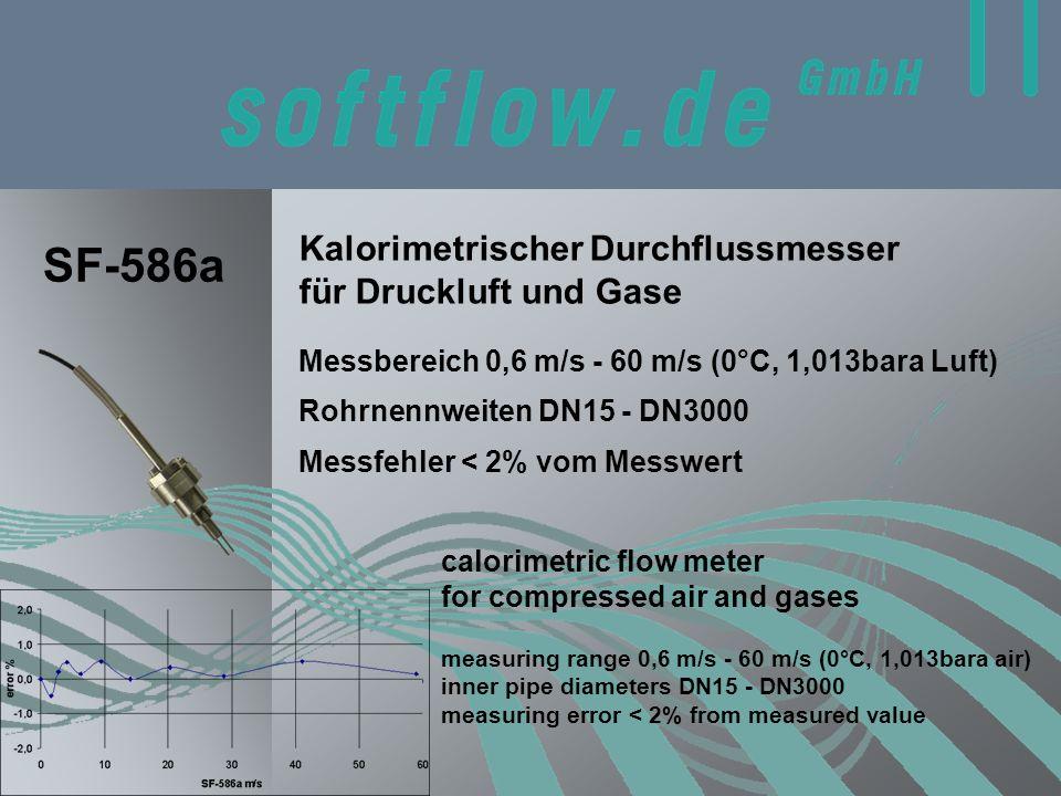 Kalorimetrischer Durchflussmesser für Druckluft und Gase calorimetric flow meter for compressed air and gases SF-586a Messbereich 0,6 m/s - 60 m/s (0°C, 1,013bara Luft) measuring range 0,6 m/s - 60 m/s (0°C, 1,013bara air) inner pipe diameters DN15 - DN3000 measuring error < 2% from measured value Messfehler < 2% vom Messwert Rohrnennweiten DN15 - DN3000