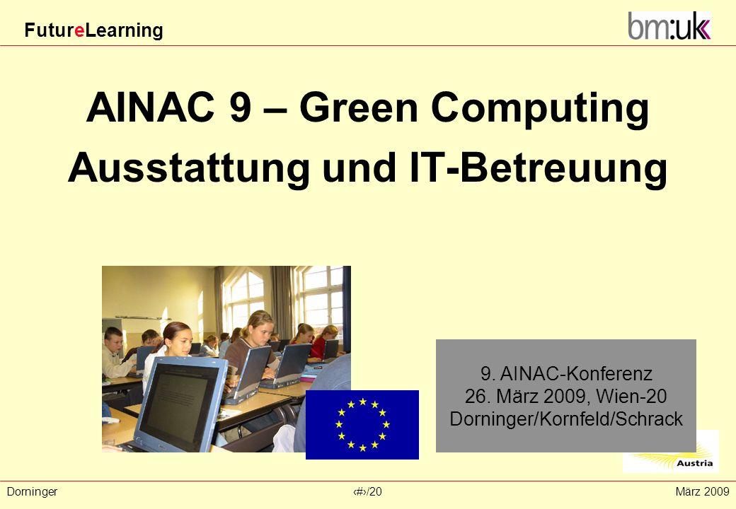 FutureLearning Dorninger#/20März 2009 AINAC 9 – Green Computing Ausstattung und IT-Betreuung 9. AINAC-Konferenz 26. März 2009, Wien-20 Dorninger/Kornf