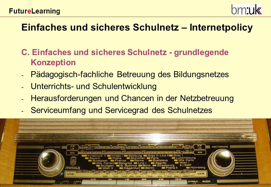 FutureLearning Dorninger#/20März 2009 Einfaches und sicheres Schulnetz – Internetpolicy C. Einfaches und sicheres Schulnetz - grundlegende Konzeption