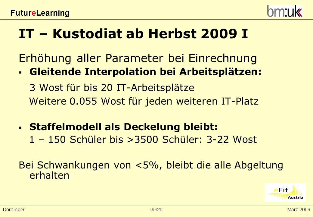 FutureLearning Dorninger#/20März 2009 IT – Kustodiat ab Herbst 2009 I Erhöhung aller Parameter bei Einrechnung Gleitende Interpolation bei Arbeitsplät