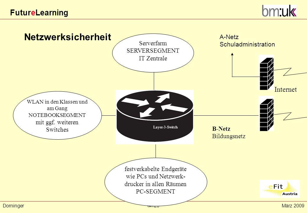 FutureLearning Dorninger#/20März 2009 Netzwerksicherheit festverkabelte Endgeräte wie PCs und Netzwerk- drucker in allen Räumen PC-SEGMENT Serverfarm