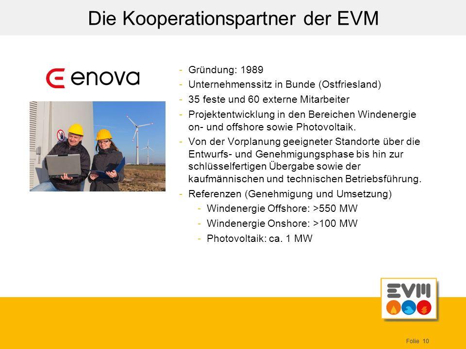 Folie 10 Die Kooperationspartner der EVM -Gründung: 1989 -Unternehmenssitz in Bunde (Ostfriesland) -35 feste und 60 externe Mitarbeiter -Projektentwic