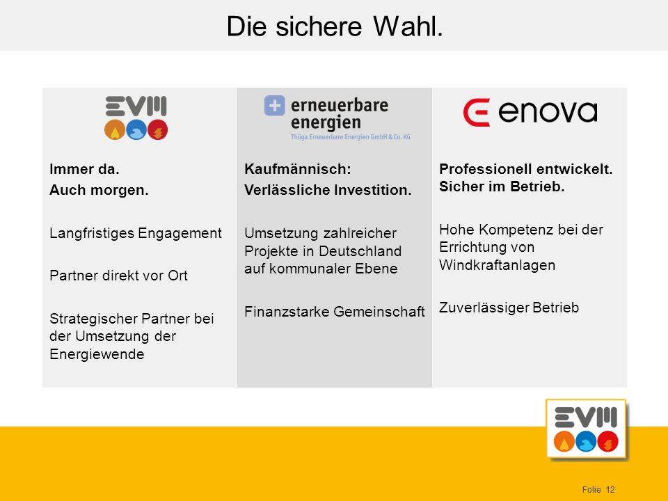 Folie 12 Die sichere Wahl. Kaufmännisch: Verlässliche Investition. Umsetzung zahlreicher Projekte in Deutschland auf kommunaler Ebene Finanzstarke Gem