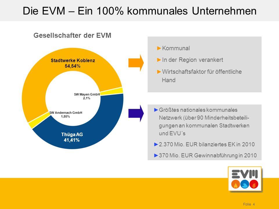 Folie 4 Die EVM – Ein 100% kommunales Unternehmen Kommunal In der Region verankert Wirtschaftsfaktor für öffentliche Hand Größtes nationales kommunale