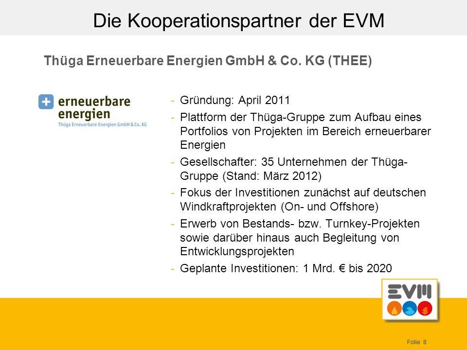 Folie 8 Thüga Erneuerbare Energien GmbH & Co. KG (THEE) -Gründung: April 2011 -Plattform der Thüga-Gruppe zum Aufbau eines Portfolios von Projekten im