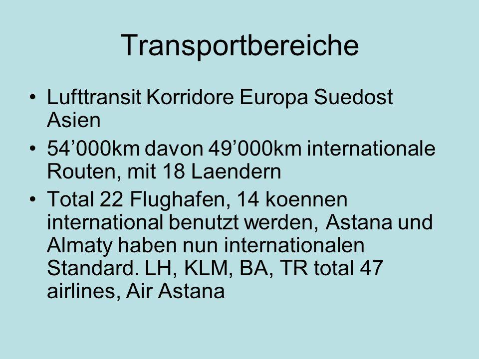 Transportbereiche Lufttransit Korridore Europa Suedost Asien 54000km davon 49000km internationale Routen, mit 18 Laendern Total 22 Flughafen, 14 koennen international benutzt werden, Astana und Almaty haben nun internationalen Standard.