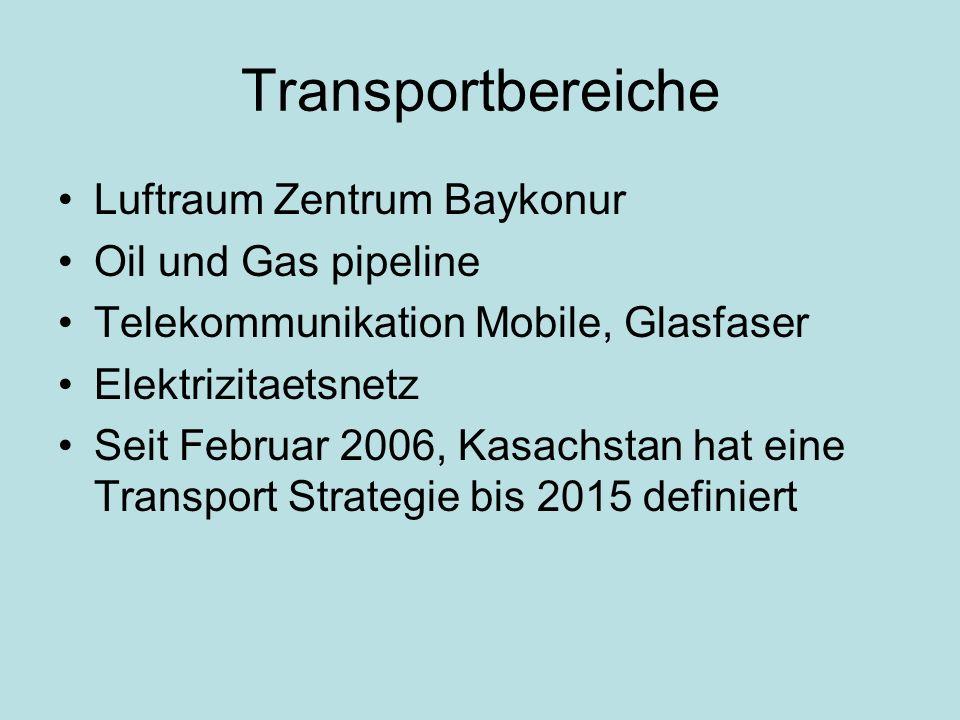 Transportbereiche Luftraum Zentrum Baykonur Oil und Gas pipeline Telekommunikation Mobile, Glasfaser Elektrizitaetsnetz Seit Februar 2006, Kasachstan hat eine Transport Strategie bis 2015 definiert
