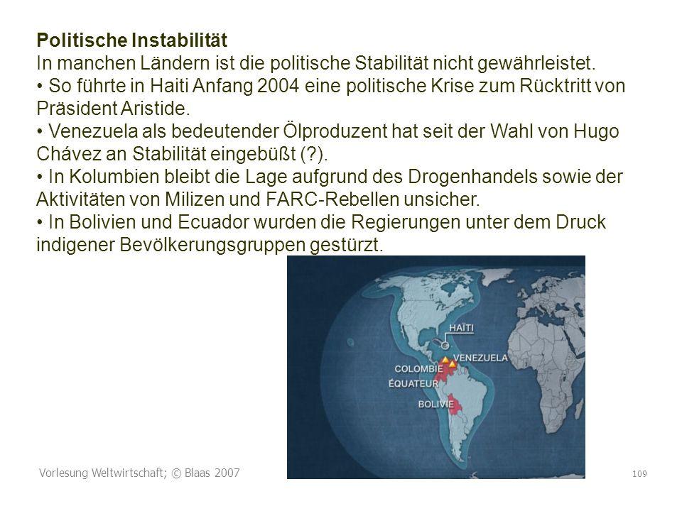 Vorlesung Weltwirtschaft; © Blaas 2007 109 Politische Instabilität In manchen Ländern ist die politische Stabilität nicht gewährleistet. So führte in
