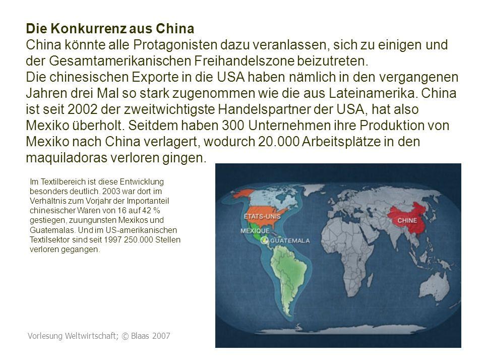 Vorlesung Weltwirtschaft; © Blaas 2007 115 Die Konkurrenz aus China China könnte alle Protagonisten dazu veranlassen, sich zu einigen und der Gesamtamerikanischen Freihandelszone beizutreten.