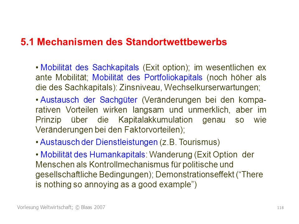 Vorlesung Weltwirtschaft; © Blaas 2007 118 5.1 Mechanismen des Standortwettbewerbs Mobilität des Sachkapitals (Exit option); im wesentlichen ex ante M