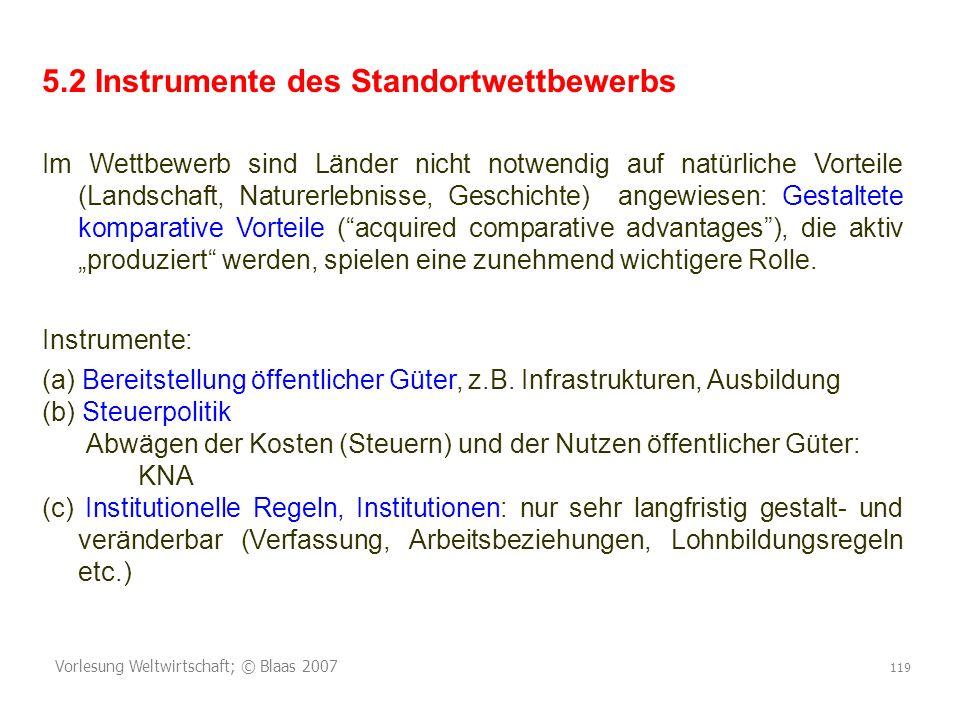 Vorlesung Weltwirtschaft; © Blaas 2007 119 5.2 Instrumente des Standortwettbewerbs Im Wettbewerb sind Länder nicht notwendig auf natürliche Vorteile (