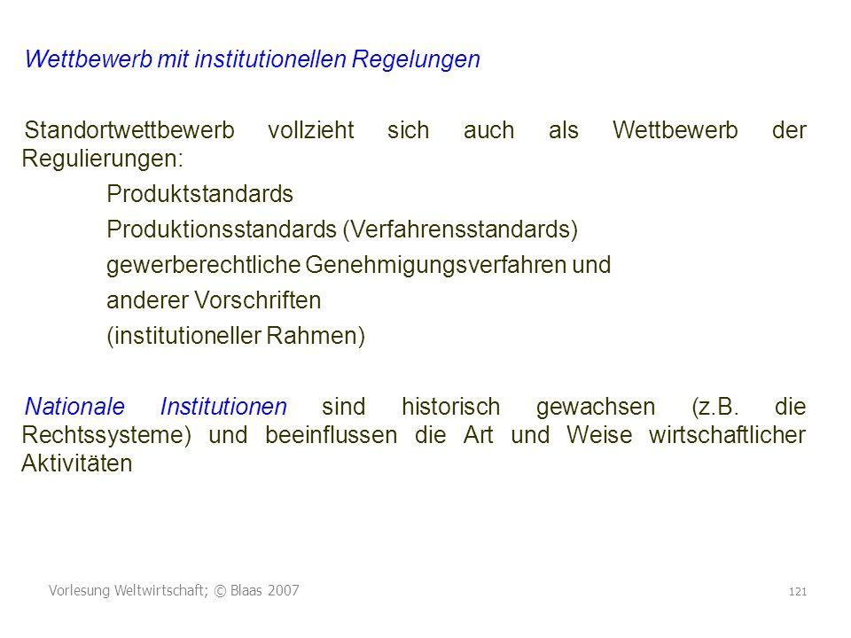 Vorlesung Weltwirtschaft; © Blaas 2007 121 Wettbewerb mit institutionellen Regelungen Standortwettbewerb vollzieht sich auch als Wettbewerb der Reguli