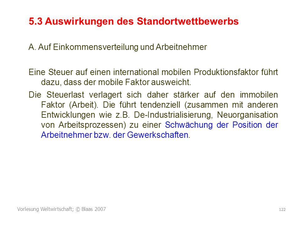 Vorlesung Weltwirtschaft; © Blaas 2007 122 5.3 Auswirkungen des Standortwettbewerbs A. Auf Einkommensverteilung und Arbeitnehmer Eine Steuer auf einen