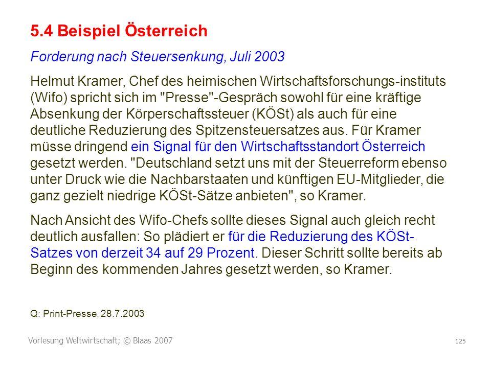 Vorlesung Weltwirtschaft; © Blaas 2007 125 5.4 Beispiel Österreich Forderung nach Steuersenkung, Juli 2003 Helmut Kramer, Chef des heimischen Wirtscha