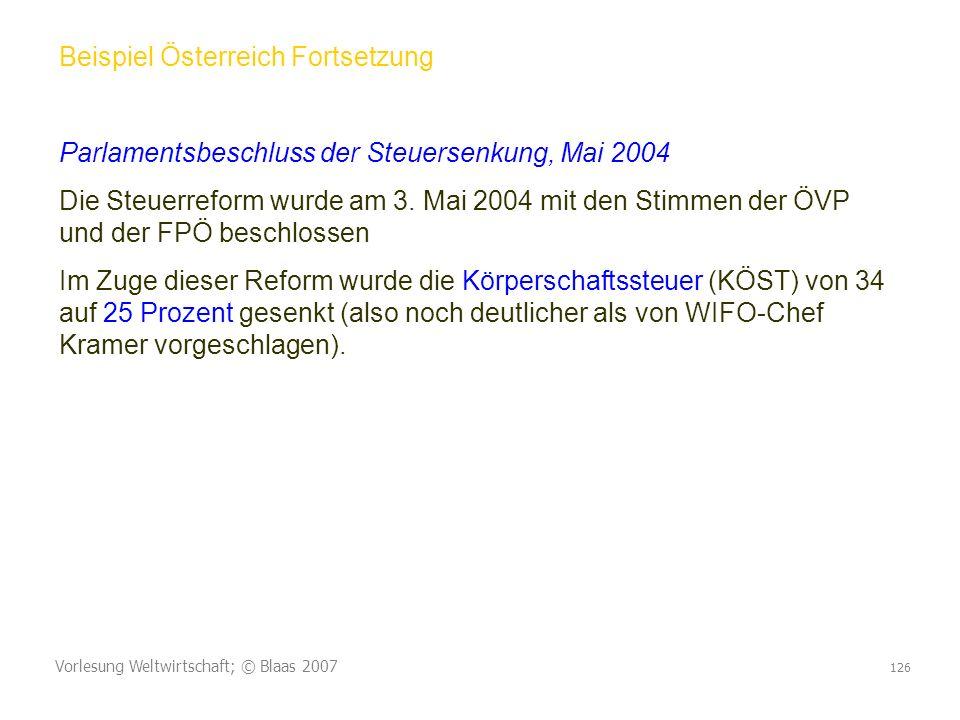 Vorlesung Weltwirtschaft; © Blaas 2007 126 Beispiel Österreich Fortsetzung Parlamentsbeschluss der Steuersenkung, Mai 2004 Die Steuerreform wurde am 3.