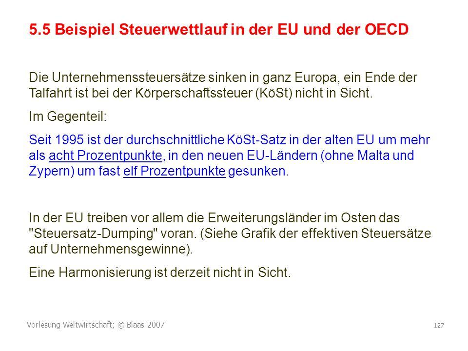 Vorlesung Weltwirtschaft; © Blaas 2007 127 5.5 Beispiel Steuerwettlauf in der EU und der OECD Die Unternehmenssteuersätze sinken in ganz Europa, ein Ende der Talfahrt ist bei der Körperschaftssteuer (KöSt) nicht in Sicht.