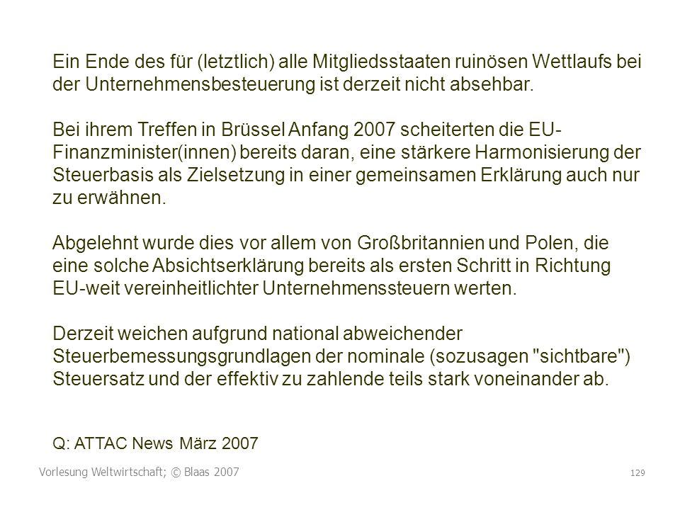 Vorlesung Weltwirtschaft; © Blaas 2007 129 Ein Ende des für (letztlich) alle Mitgliedsstaaten ruinösen Wettlaufs bei der Unternehmensbesteuerung ist derzeit nicht absehbar.