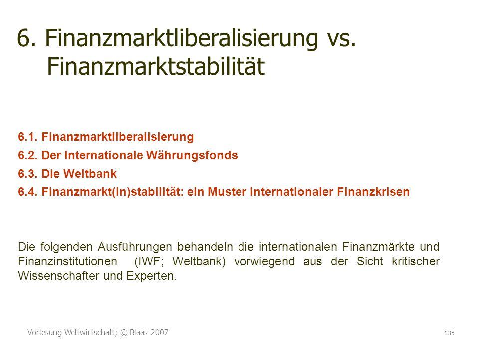 Vorlesung Weltwirtschaft; © Blaas 2007 135 6. Finanzmarktliberalisierung vs. Finanzmarktstabilität 6.1. Finanzmarktliberalisierung 6.2. Der Internatio