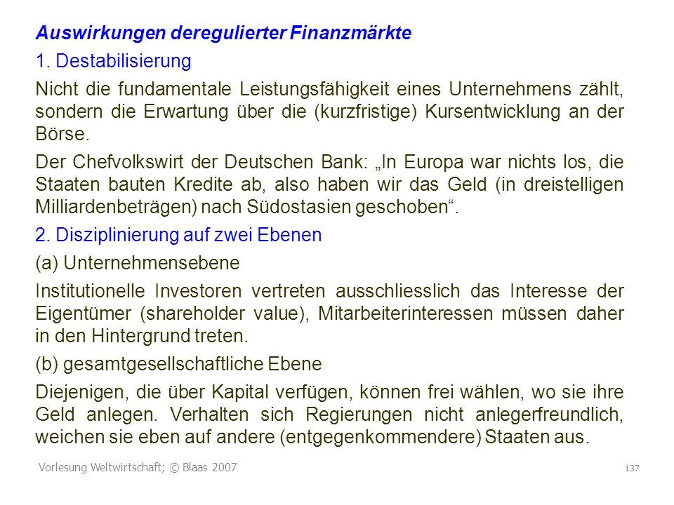 Vorlesung Weltwirtschaft; © Blaas 2007 137 Auswirkungen deregulierter Finanzmärkte 1. Destabilisierung Nicht die fundamentale Leistungsfähigkeit eines