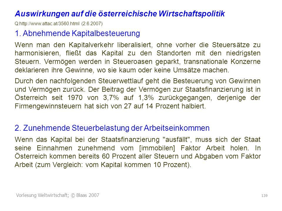 Vorlesung Weltwirtschaft; © Blaas 2007 139 Auswirkungen auf die österreichische Wirtschaftspolitik Q:http://www.attac.at/3560.html (2.6.2007) 1.