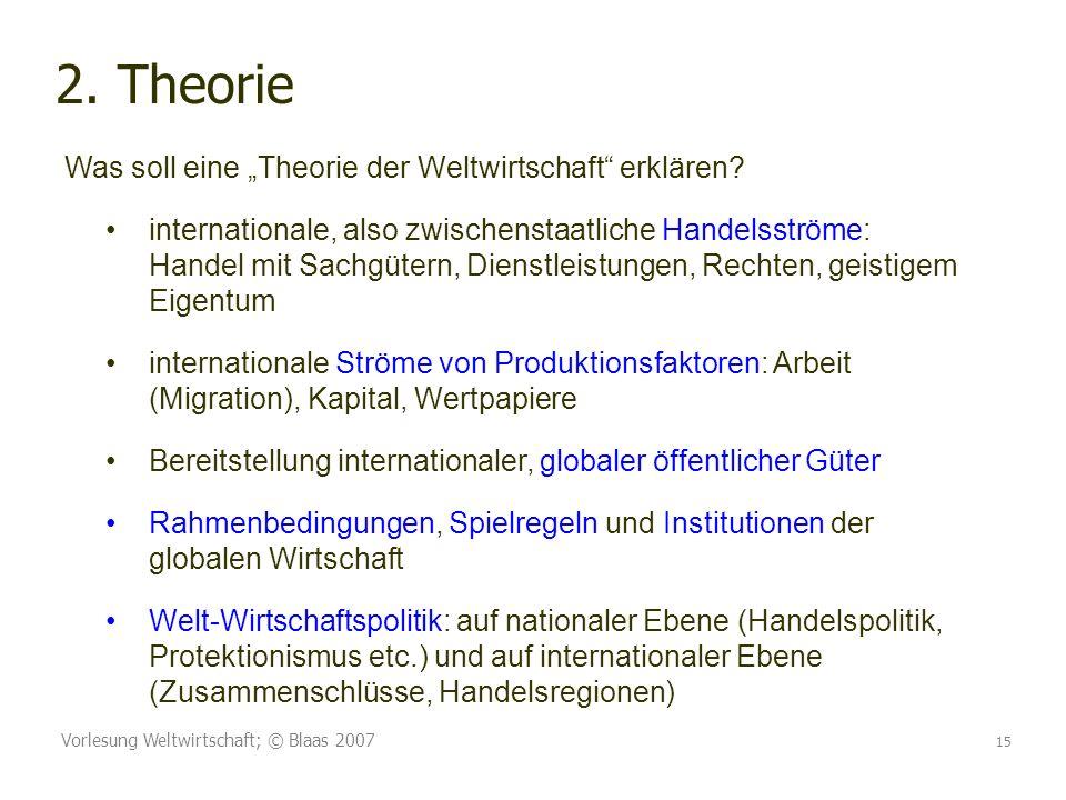 Vorlesung Weltwirtschaft; © Blaas 2007 15 2. Theorie Was soll eine Theorie der Weltwirtschaft erklären? internationale, also zwischenstaatliche Handel