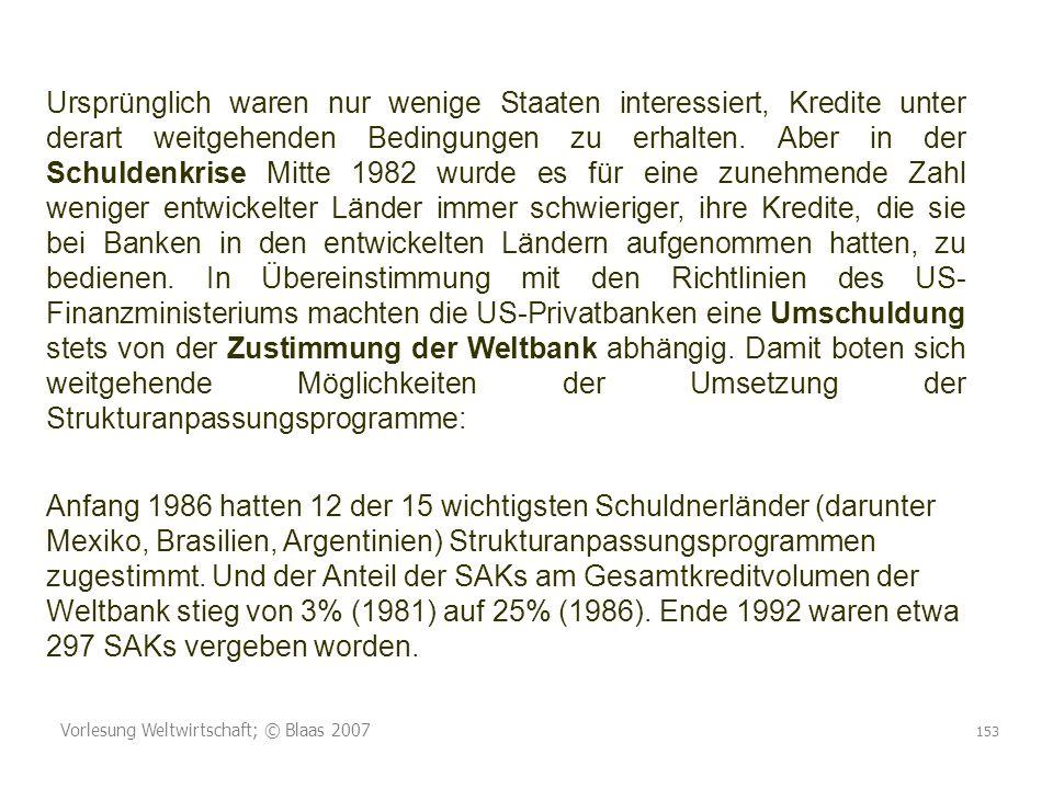 Vorlesung Weltwirtschaft; © Blaas 2007 153 Ursprünglich waren nur wenige Staaten interessiert, Kredite unter derart weitgehenden Bedingungen zu erhalten.