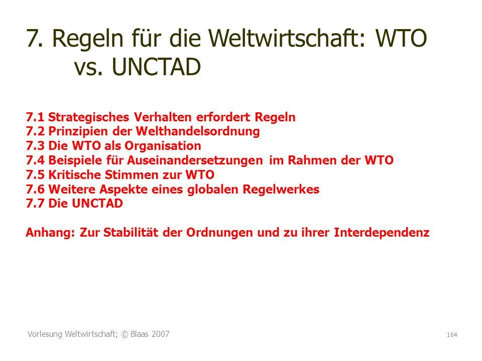 Vorlesung Weltwirtschaft; © Blaas 2007 164 7. Regeln für die Weltwirtschaft: WTO vs. UNCTAD 7.1 Strategisches Verhalten erfordert Regeln 7.2 Prinzipie