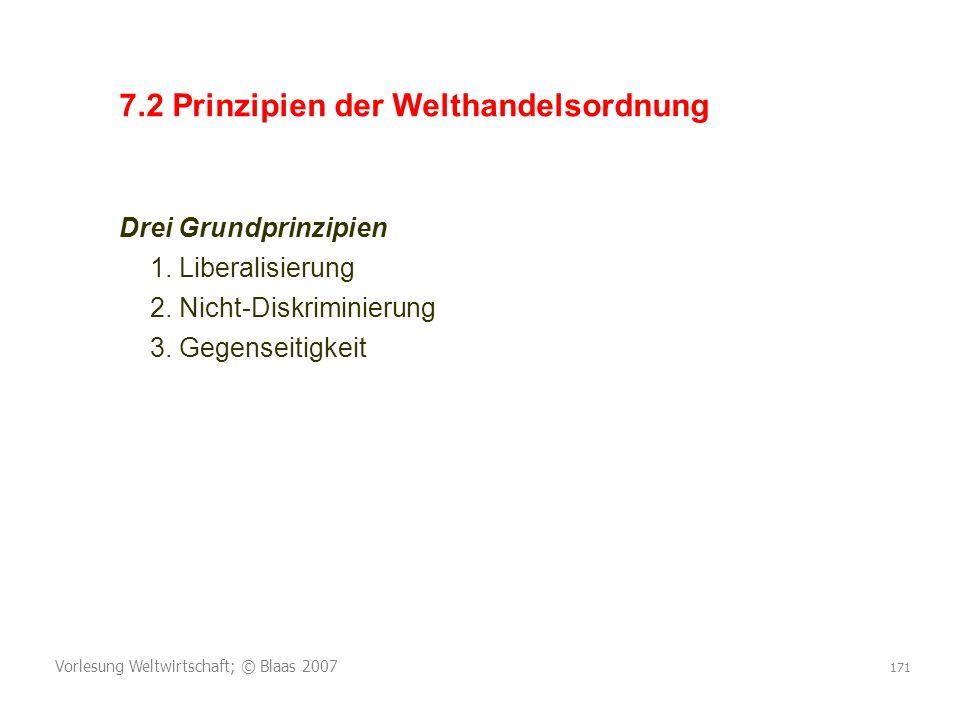 Vorlesung Weltwirtschaft; © Blaas 2007 171 7.2 Prinzipien der Welthandelsordnung Drei Grundprinzipien 1. Liberalisierung 2. Nicht-Diskriminierung 3. G