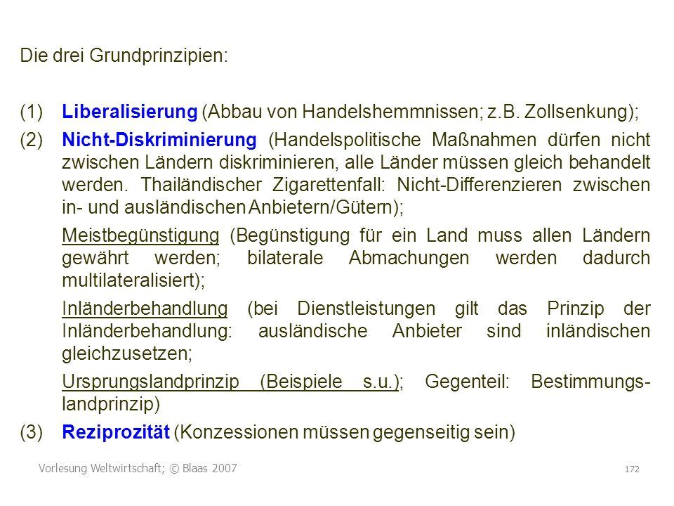 Vorlesung Weltwirtschaft; © Blaas 2007 172 Die drei Grundprinzipien: (1)Liberalisierung (Abbau von Handelshemmnissen; z.B.
