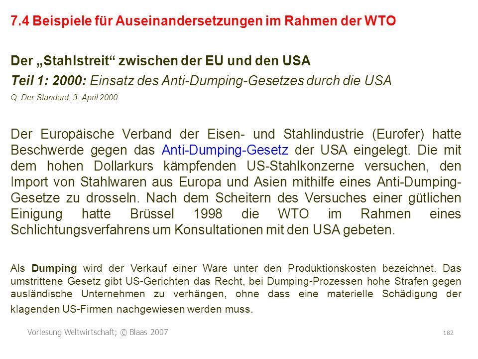 Vorlesung Weltwirtschaft; © Blaas 2007 182 7.4 Beispiele für Auseinandersetzungen im Rahmen der WTO Der Stahlstreit zwischen der EU und den USA Teil 1: 2000: Einsatz des Anti-Dumping-Gesetzes durch die USA Q: Der Standard, 3.