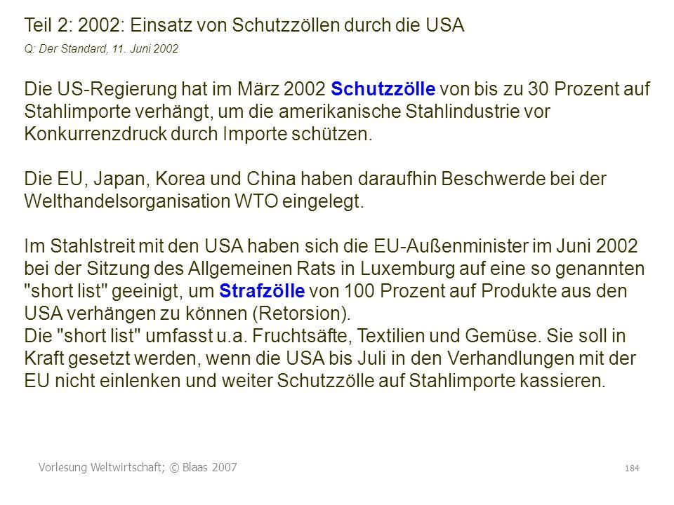 Vorlesung Weltwirtschaft; © Blaas 2007 184 Teil 2: 2002: Einsatz von Schutzzöllen durch die USA Q: Der Standard, 11. Juni 2002 Die US-Regierung hat im