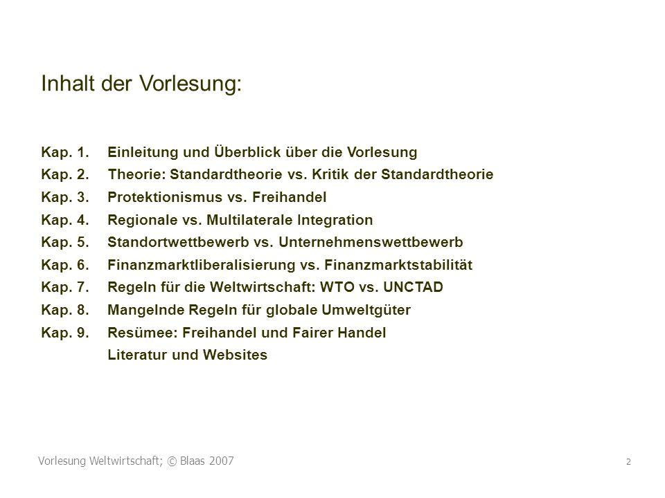 Vorlesung Weltwirtschaft; © Blaas 2007 2 Inhalt der Vorlesung: Kap. 1.Einleitung und Überblick über die Vorlesung Kap. 2.Theorie: Standardtheorie vs.
