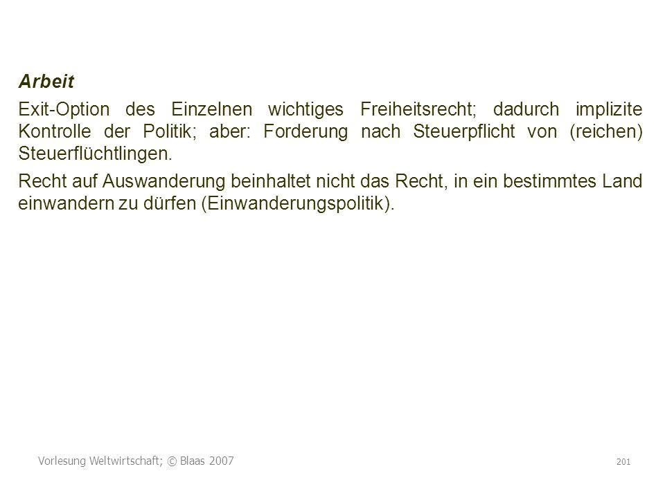 Vorlesung Weltwirtschaft; © Blaas 2007 201 Arbeit Exit-Option des Einzelnen wichtiges Freiheitsrecht; dadurch implizite Kontrolle der Politik; aber: Forderung nach Steuerpflicht von (reichen) Steuerflüchtlingen.