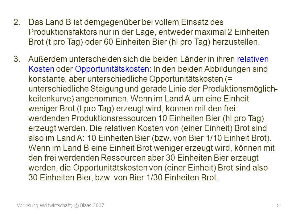 Vorlesung Weltwirtschaft; © Blaas 2007 21 2.Das Land B ist demgegenüber bei vollem Einsatz des Produktionsfaktors nur in der Lage, entweder maximal 2 Einheiten Brot (t pro Tag) oder 60 Einheiten Bier (hl pro Tag) herzustellen.