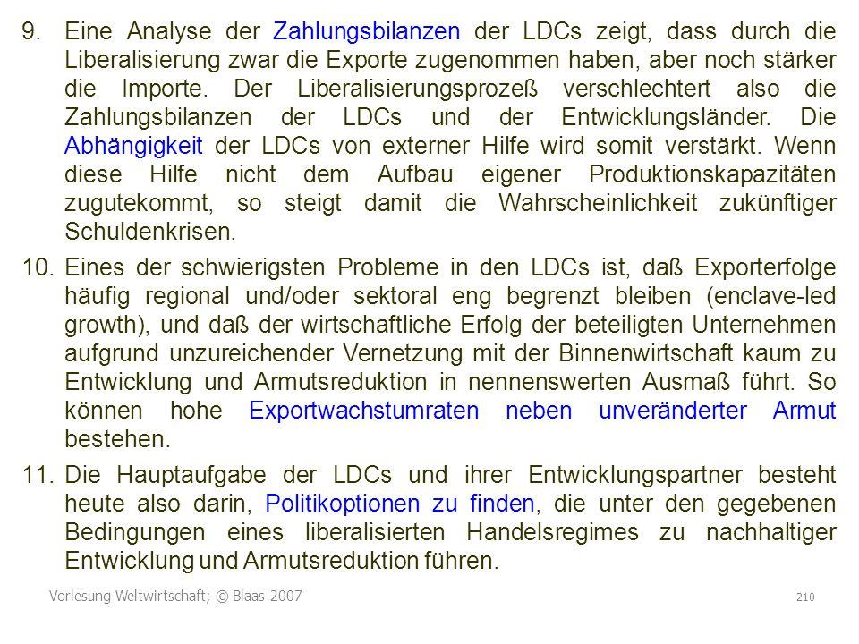 Vorlesung Weltwirtschaft; © Blaas 2007 210 9.Eine Analyse der Zahlungsbilanzen der LDCs zeigt, dass durch die Liberalisierung zwar die Exporte zugenommen haben, aber noch stärker die Importe.