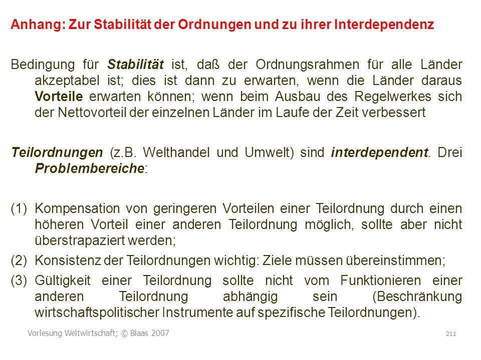 Vorlesung Weltwirtschaft; © Blaas 2007 211 Anhang: Zur Stabilität der Ordnungen und zu ihrer Interdependenz Bedingung für Stabilität ist, daß der Ordn
