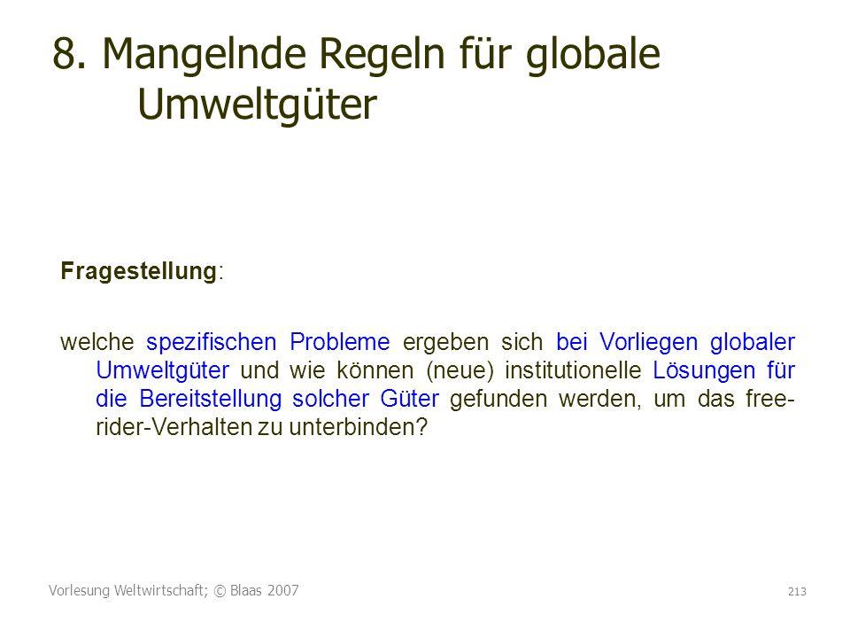 Vorlesung Weltwirtschaft; © Blaas 2007 213 8. Mangelnde Regeln für globale Umweltgüter Fragestellung: welche spezifischen Probleme ergeben sich bei Vo