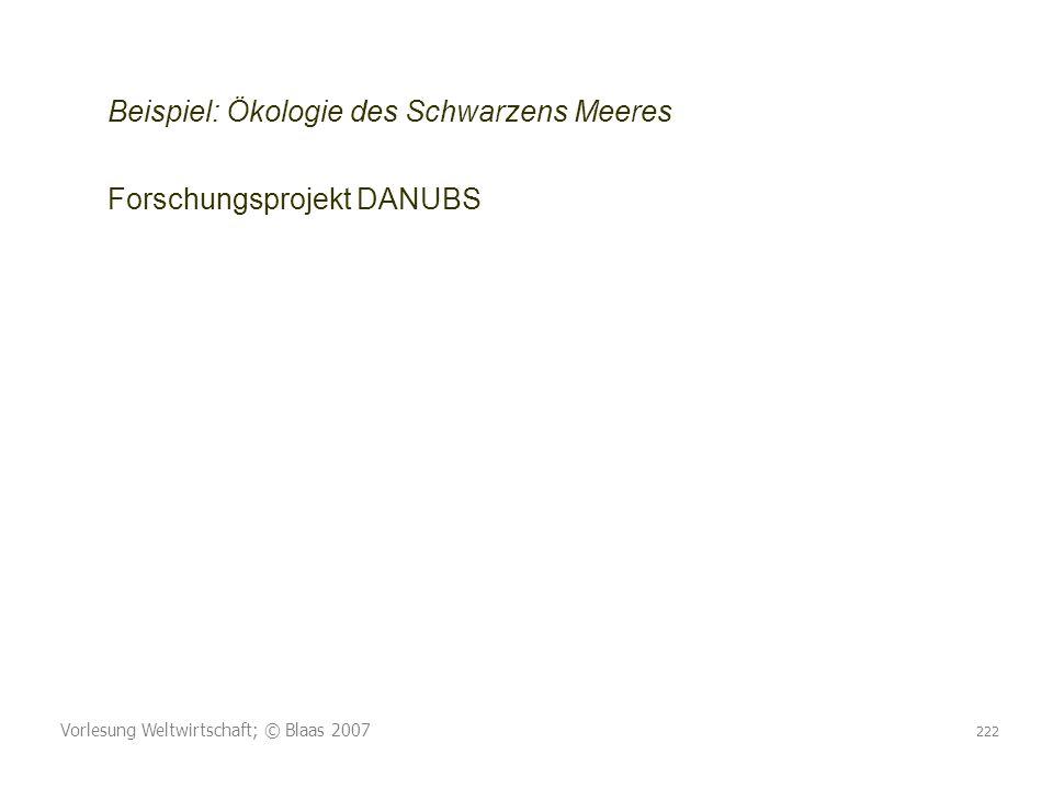 Vorlesung Weltwirtschaft; © Blaas 2007 222 Beispiel: Ökologie des Schwarzens Meeres Forschungsprojekt DANUBS
