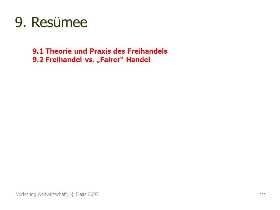 Vorlesung Weltwirtschaft; © Blaas 2007 223 9. Resümee 9.1 Theorie und Praxis des Freihandels 9.2 Freihandel vs. Fairer Handel