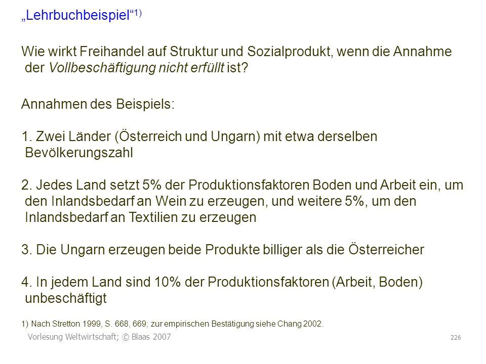 Vorlesung Weltwirtschaft; © Blaas 2007 226 Lehrbuchbeispiel 1) Wie wirkt Freihandel auf Struktur und Sozialprodukt, wenn die Annahme der Vollbeschäftigung nicht erfüllt ist.