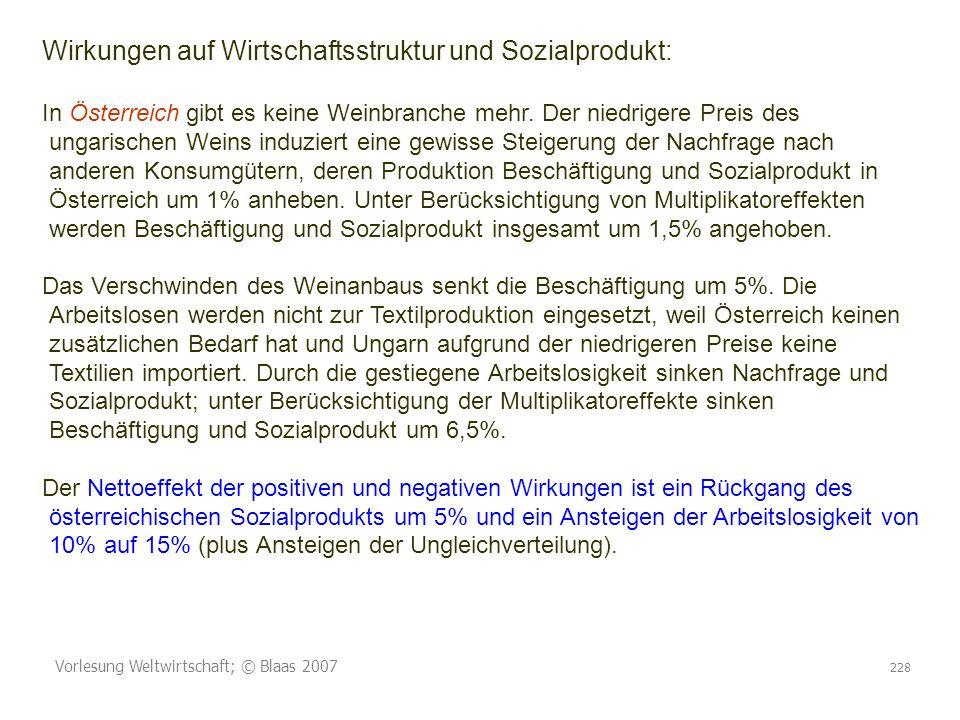 Vorlesung Weltwirtschaft; © Blaas 2007 228 Wirkungen auf Wirtschaftsstruktur und Sozialprodukt: In Österreich gibt es keine Weinbranche mehr. Der nied