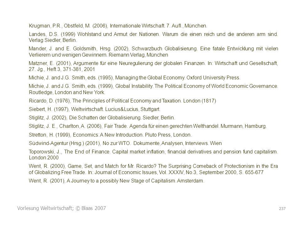 Vorlesung Weltwirtschaft; © Blaas 2007 237 Krugman, P.R., Obstfeld, M. (2006), Internationale Wirtschaft. 7. Aufl., München. Landes, D.S. (1999) Wohls