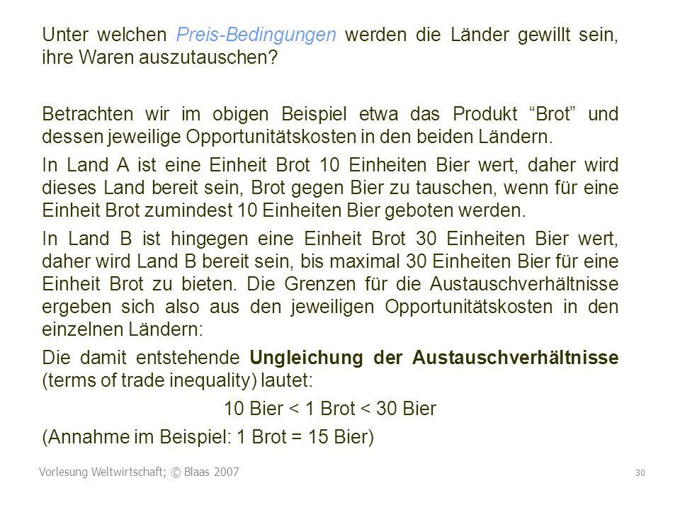 Vorlesung Weltwirtschaft; © Blaas 2007 30 Unter welchen Preis-Bedingungen werden die Länder gewillt sein, ihre Waren auszutauschen? Betrachten wir im